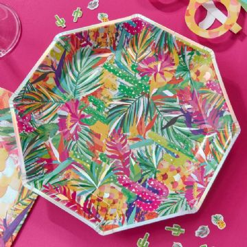 Tropical Hot Summer Paper Plates - Pack of 8